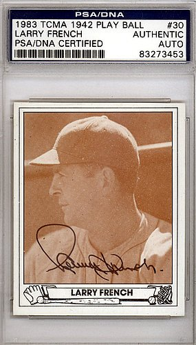 Larry French Signed 1942 Play Ball Reprint Trading Card #30 Brooklyn Dodgers - Certified Genuine Autograph By PSA/DNA - Baseball (Los Angeles Dodgers 30 Ball)