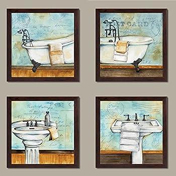Amazon Com Vintage Bathtub And Sink Bathroom Prints On A