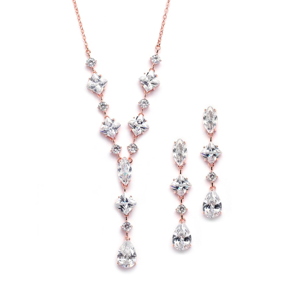 Mariell 14K Rose Gold Plated Cubic Zirconia Wedding Necklace & Earrings Bridal Jewelry Set Brides
