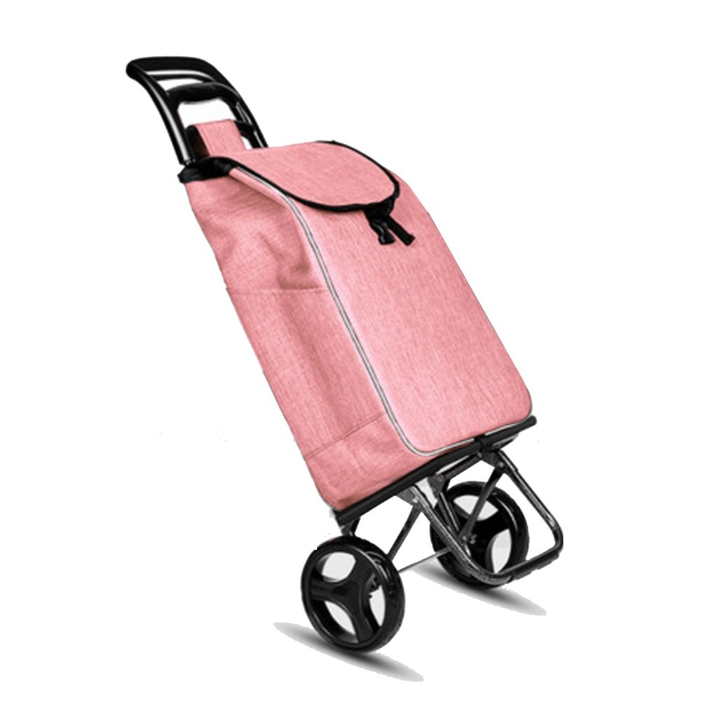 NAN 2ラウンド軽量ショッピングトロリー、トレンディ折りたたみ、折りたたみプッシュ、プルカット(グリーン、ピンク、チェリーレッド、パープル、レッド) トレーラー (色 : ピンク ぴんく) B07DZBX4LC ピンク ぴんく ピンク ぴんく