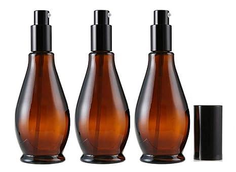 3 botellas de cristal de ámbar vacías de 100 ml con tapa ...