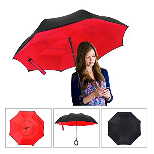 Inverted Umbrella, SimplyWorks Windproof Reverse Double Layer, Self Standing Inside Out Umbrella with C-shaped Hands Free Handle for Car In Rain Protection (Red, Black) (Insideout Patio Furniture)