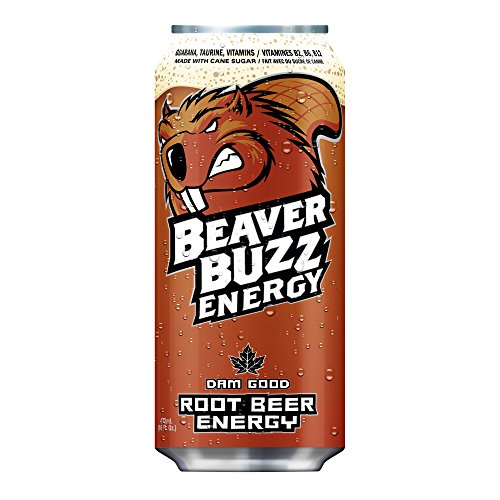 Canadian Beaver Buzz (BROWN Can) ROOT BEER ENERGY Energy Drink - 16oz x 12pack