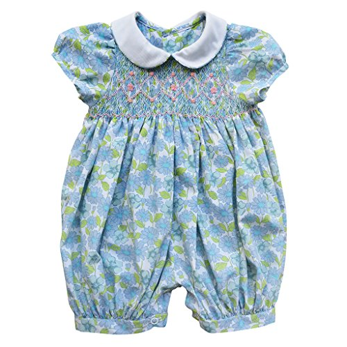 Carriage Boutique Baby Girl Blue Bloomer - Hand Smocked Summer Spring Flowers, 9M (Newborn)