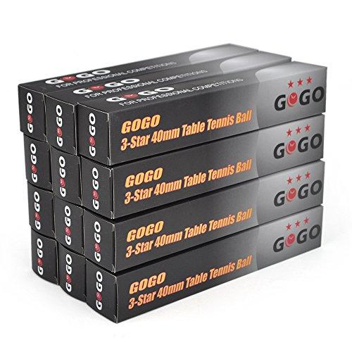 GOGO 3-Star Table Tennis Balls / Ping Pong Balls (12 Tubes 72pcs), Great for Training - Orange