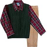 Good Lad Toddler Boy Green Cable Sweater Vest Set