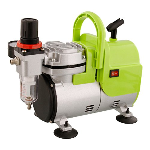 UPC 848849073478, High Performance Airbrush Air Compressor Includes Air Pressure Regulator with Gauge and Water Trap Filter, Airbrush Holder