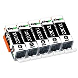 Kingjet PGI-220 Black Ink Tank Replacements 5 Pack Compatible with Canon ...