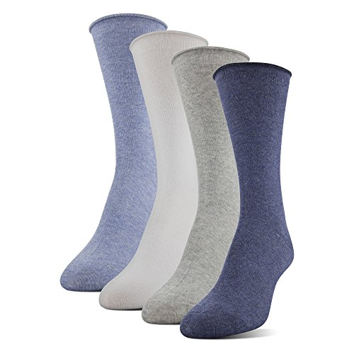 MediPEDS Women's Aloe Vera Infused Roll Top Crew Socks, 4-Pack, Denim Assorted, Shoe Size: ()