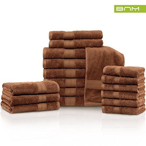 Rayon from Bamboo and Cotton, 18-Piece Bathroom Towel Set, Highly Absorbent, Super Velvety Soft, Dobby Checkered Dual Border, (Cocoa Cotton Border)