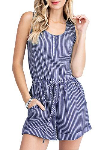 Saslax Women Summer Sleeveless Button Down Striped Short Jumpsuit Cami Romper with Pockets, Navy Blue Small ()