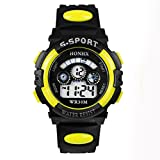 Mens Boy's Digital Sports Watch Waterproof LED Electronic Display Outdoor 12H/24H Time Military Watch Backlight 100/1 Stopwatch Calendar Date Plastic Watch Digital Double Action Watch (Sport, D)