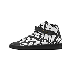 Shoes No.1 Women's Sneakers Lyra Round Toe High-top Shoes Black And White Abstract For Outdoor