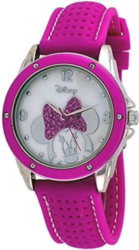 (Disney MN9273 Unisex Pink Silicone Band MOP Dial Minnie Mouse Analog Watch )