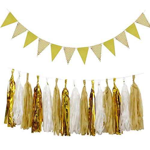 15pcs DIY Sparkly Tissue Paper Tassels Garland and 12pcs Shiny Gold Paper Pennant Banner Triangle Flags for Wedding Birthday Party Decorations