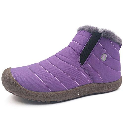 Snow 6811 Warm Booties Purple Faux Men 1 EnllerviiD Women Short Ankle Winter Boots Fur twPnq
