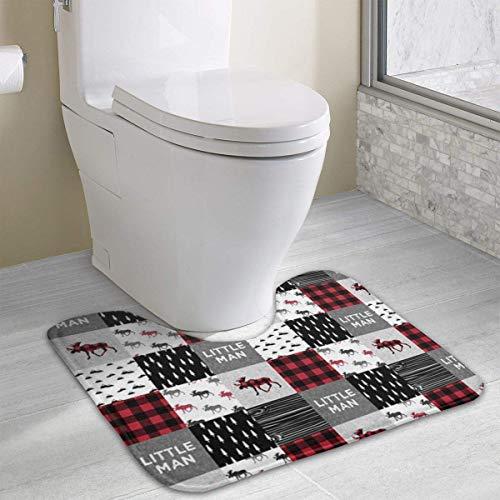 casually Buffalo Plaid Moose Funny Bath Mat Toilet Carpet Doormats Floor Rugs for Bathroom Toilet 19.2″x15.7″