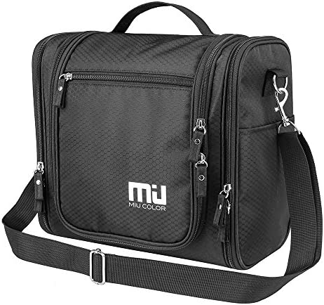 MIU COLOR Waterproof Hanging Toiletry Kit, Portable Travel Organizer Cosmetic Toiletry Bag for Bathroom Accessories and Personal Items, Makeup, and Shaving Kits