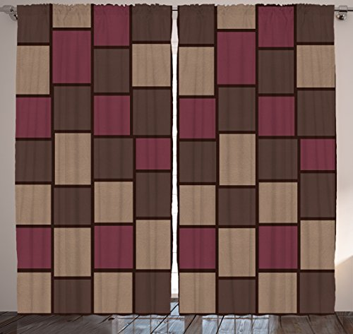 Squares Rectangular Geometric Pattern Minimalist Design Nordic Style Modern Decorating Item Lively Look Pastel Colors Bedroom Living Kids Youth Room Curtain 2 Panels Set, Aubergine Brown Khaki