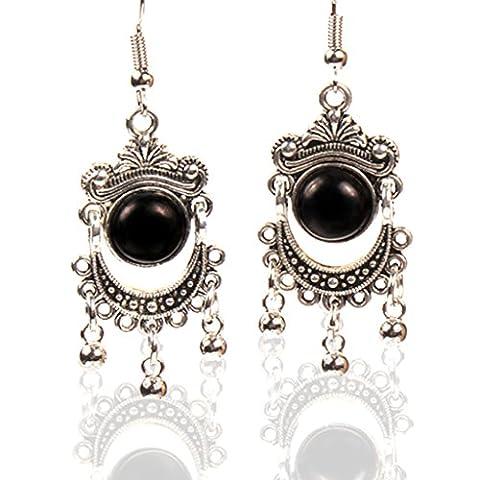 Women Dangle Earrings Black Fashion Silver Plated Multi Color Stone Unique Big Earrings Long