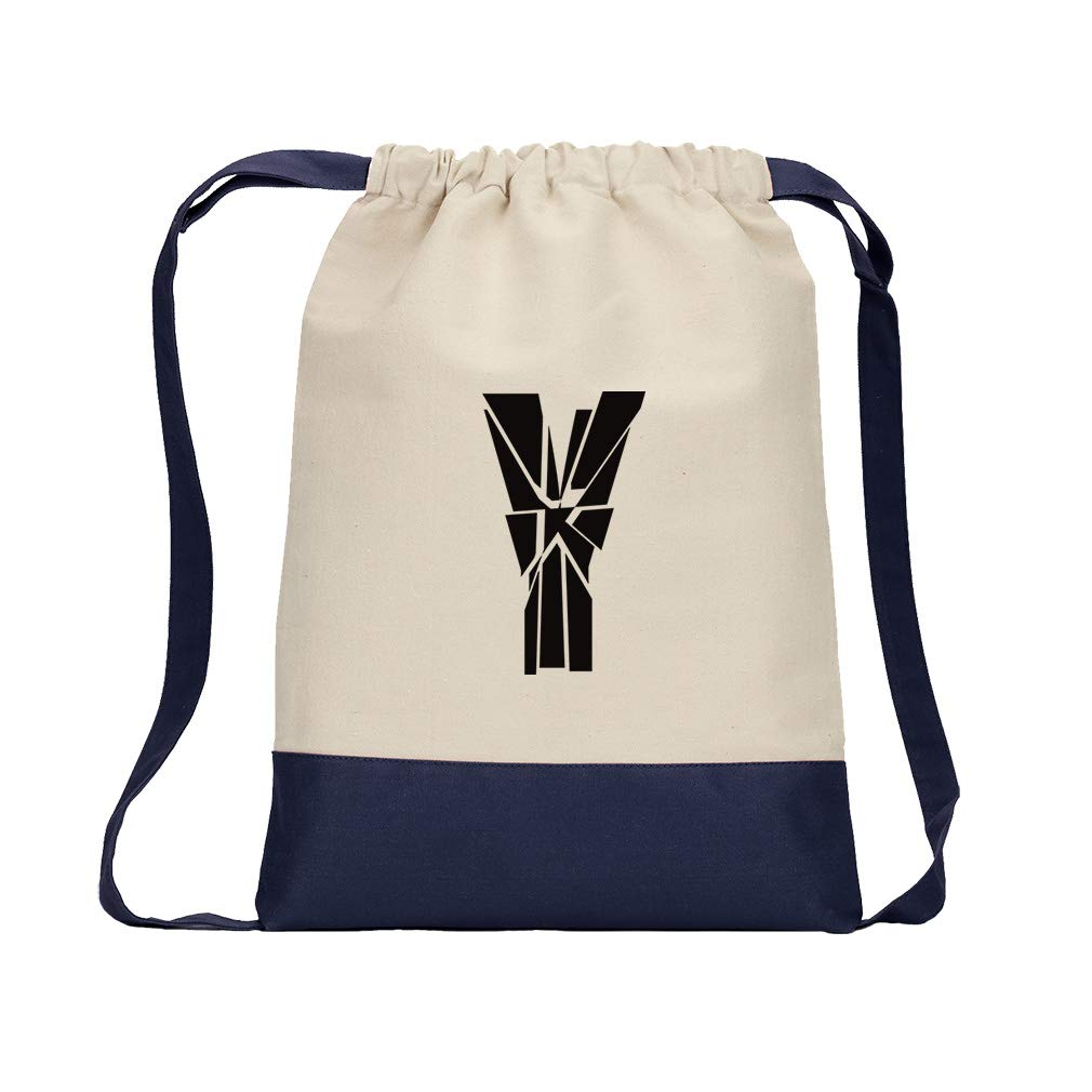 ''Y'' Glass Initial Monogram Letter Y Cotton Canvas Color Drawstring Bag Backpack - Navy