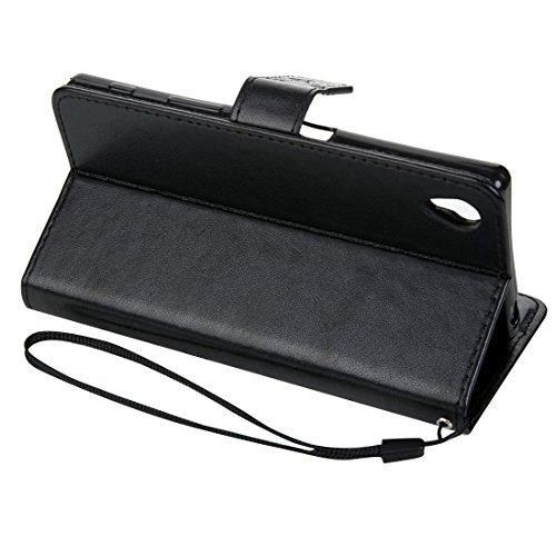 Beautiful & practical Para Sony Xperia Z5 Crazy Horse Textura de impresión Horizontal Flip caja de cuero con titular y ranuras para tarjetas y billetera y cordón ( Color : Dark Blue ) Black