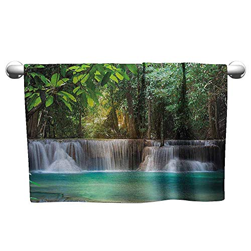 duommhome Waterfall Decor Soft Bath Towel Heaven Like Landscape of a Waterfall from Thailand with Exotic Trees W10 x L10 Green and Blue