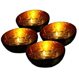 Exotic Elegance Set of 4 Glowing Candle Holder From Coconut Shell and Golden Leaf. by Exotic Chic Decor