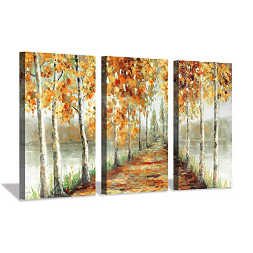 Hardy Gallery Abstract Plant Landscape Arts Painting Birch Trees Line In Autumn Woods On The Lake Print Set On Wrapped Canvas With Gold Foil Embellishment 3 Piece Artwork For Walls Buy Online