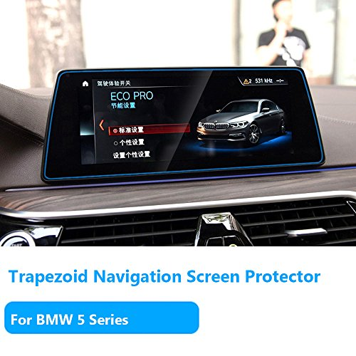 For BMW 5 Series Navigation Display Screen Protector Foils[2017-2018],TTCR-II Anti-Explosion Touch Screen Protector[0.3mm,9H Hardness],Tempered Glass Console GPS Screen Protector [10.2 Trapezoid]