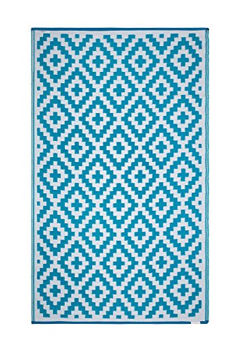 FH Home Indoor/Outdoor Recycled Plastic Floor Mat/Rug - Reversible - Weather & UV Resistant - Aztec - Teal & White (5' x 8') (Small Spaces Designs Mud Room)