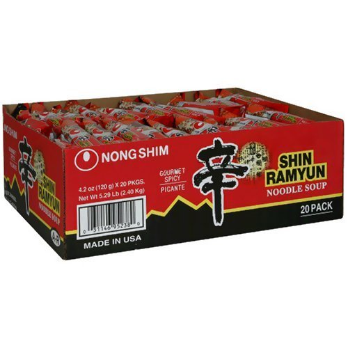Soy Ginger Ramen (Shin Ramyun Hot Spicy Noodle Soup (Nong Shim-Gourmet Spicy) for 20 Bags by Nong Shim)
