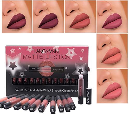 12 Colors Velvet Lip Gloss Set, ROMANTIC BEAR Waterproof Long-Lasting Matte Liquid Lipstick Kit Non-Stick Cup Liquid Lipstick Set (A) ()