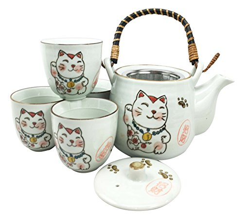 Japanese Design Maneki Neko Lucky Cat White Ceramic Tea Pot and Cups Set Serves 4 Beautifully Packaged in Gift Box Excellent Home Decor Asian Living Gift for Chefs Moms And Sushi Enthusiasts