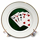 3dRose Alexis Photo-Art - Poker Hands - Poker Hands Two Pairs King, Nine - 8 inch Porcelain Plate (cp_270530_1)