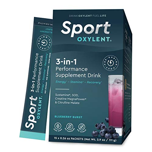 Oxylent Sport 3-in-1 Performance Supplement Drink - Sugar-Free, Effervescent, Easy Absorption of Vitamins, Creatine Minerals, Natural Energy, Supports Stamina, Blueberry Burst Flavor, 15 Count (Creatine Blueberry)
