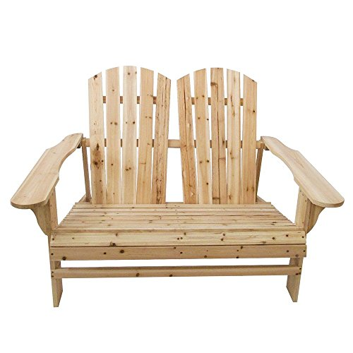 Fineser Natural Color Lounge Chairs,Unpainted Fir Wood Adirondack Chair for Patio, Yard, Deck, Outdoor-Double Recliner Seat