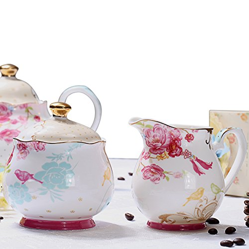 AWHOME Sugar and Creamer Set for Coffee and Tea Red Floral Painted Classic Porcelain by AWHOME (Image #2)