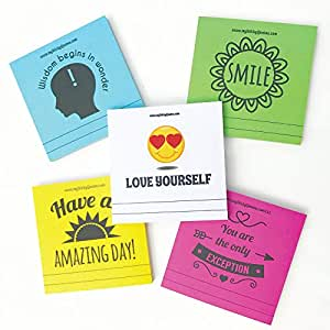 Motivational Quote Sticky Notes - Lunch Box Notes. Love Letters & Words of Wisdom for Random Acts of Kindness - 5 Pads 50 Sheets/Pad (Super Pack)