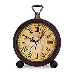 Vintage Retro Living Room Decorative Non-ticking, Sweep Second Hand, Quartz, Analog Large Numerals Bedside Table Desk Alarm Clock, Battery Operated (World Map)