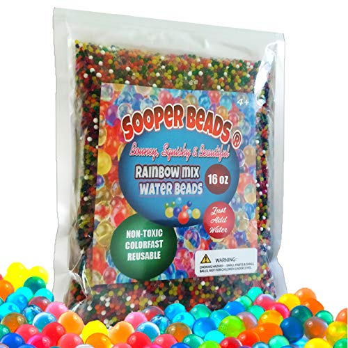 SooperBeads Water Beads Rainbow Mix (1 Pound Bulk) 50000 Non-Toxic Water Growing Sensory Beads Toy for Kids Fine Motor Skills Development, Tactile Play, Spa Refill, DIY Stress Ball, Home Décor
