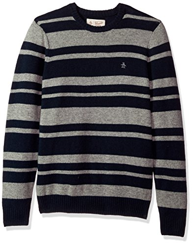 Original Penguin Men's Striped Wool Crew Sweater, Dark Sapphire, Extra (Striped Wool Pullover)