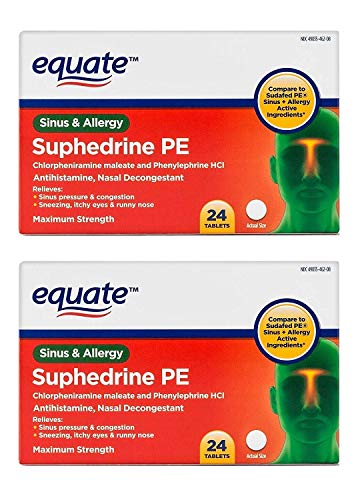 Equate Suphedrine PE Maximum Strength Sinus and Allergy Compare to Sudafed PE Sinus + Allergy (Pack of 2)