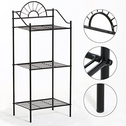Eight24hours 3 TIER Metal Shelves Flower Pot Plant Stand Display Indoor Outdoor Garden Black + FREE E-Book