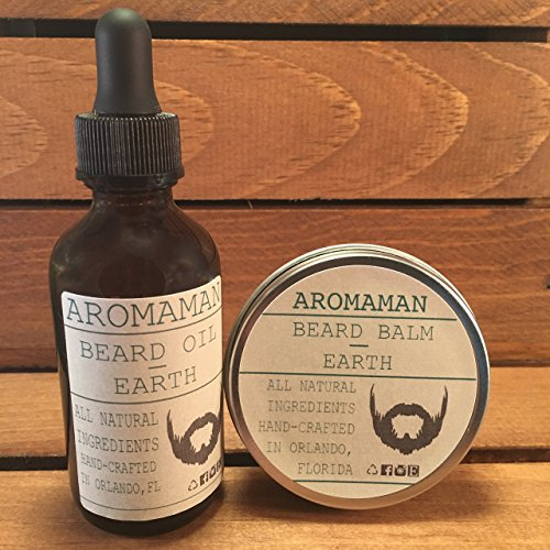 Aromaman Beard Care All-Natural Hand Crafted Beard Oil and Balm Combo. Choose your scent and size by Aromaman Beard Care