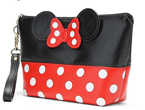 Finex Minnie Mouse Ears style Polka dots Cosmetic bag - Multifunction Travel Makeup Handbag with Zipper (Trapezoid, Red/Black)