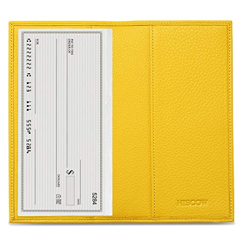 HISCOW Minimalist Checkbook Cover - Full Grain Leather (Pebbled Yellow)