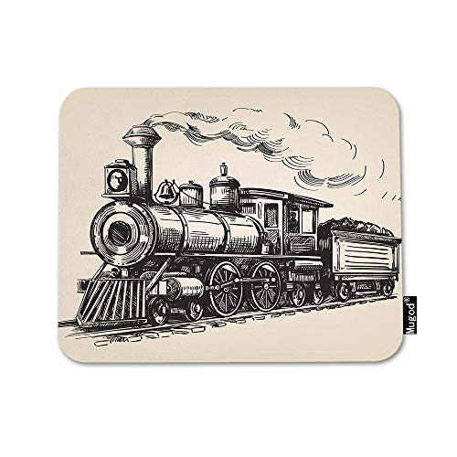 Mugod Train Mouse Pad Steam Locomotive Transport Railroad Railway Trip Vintage Grey Mouse Mat Non-Slip Rubber Base Mousepad for Computer Laptop PC Gaming Working Office & Home 9.5x7.9 Inch
