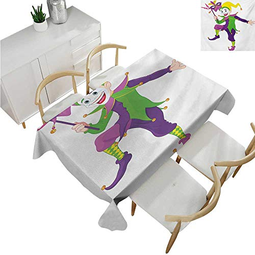 familytaste Mardi Gras,Oblong Tablecloth,Cartoon Style Jester in Iconic Costume with Mask Happy Dancing Party Figure,Table Cloth Home Decoration 54
