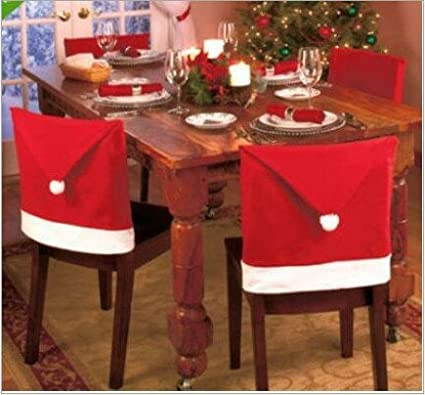 Phenomenal Amazon Com Dertring 12Pcs Christmas Chair Covers Santa Hat Home Interior And Landscaping Eliaenasavecom